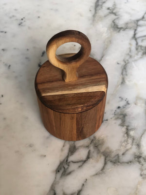 circle handle wood canister