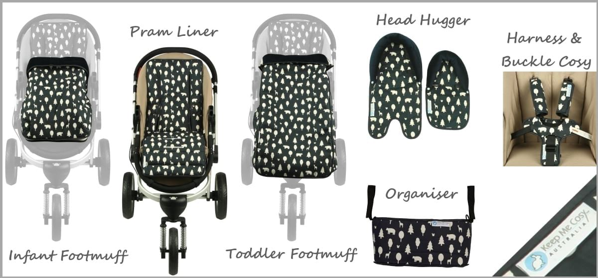 pram liners and matching accessories in woodland friends design