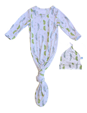 Baby Knotted Gown & Hat Set - Olive Leaves