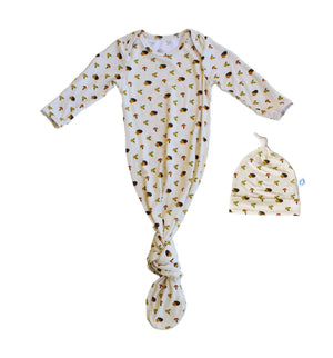 Baby Knotted Gown & Hat Set - Happy Hedgehog