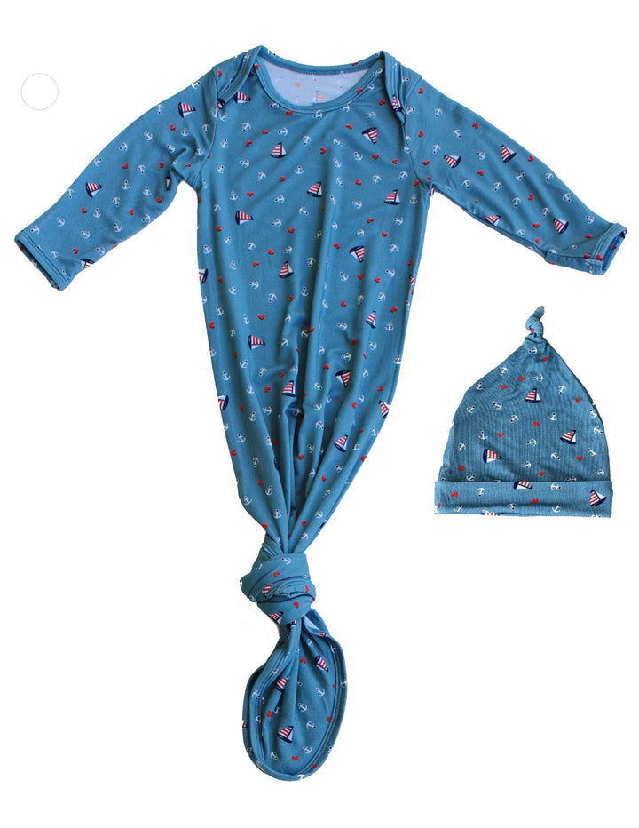 Baby Knotted Gown & Hat Set - Nautical Teal