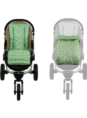 2 in 1 Infant Footmuff Set- Cloud Mint