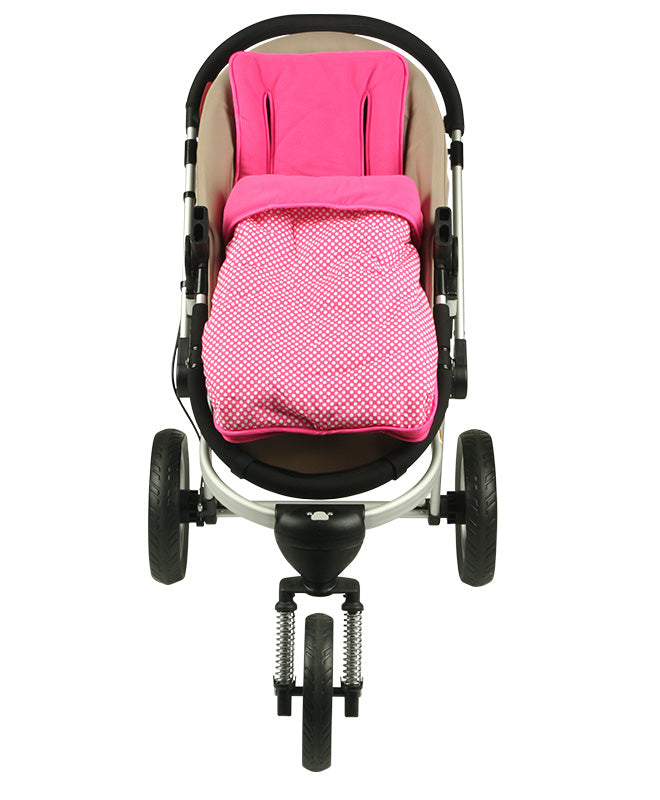 2 in 1 Infant Footmuff Set- Pink Spot