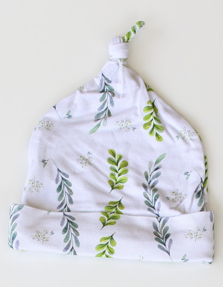 Baby Knotted Hat - Olive Leaves