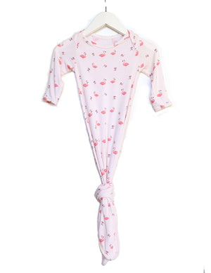 Baby Knotted Gown & Hat Set - Flamingo