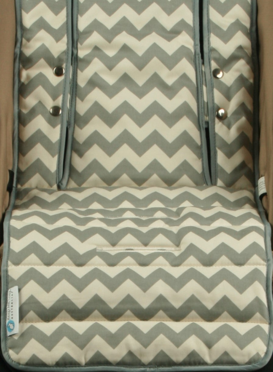 Pram Liner - Grey Chevron
