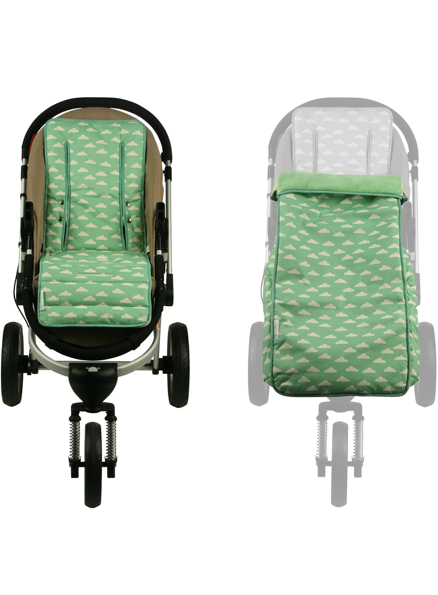 2 in 1 Toddler Footmuff Set - Cloud Mint