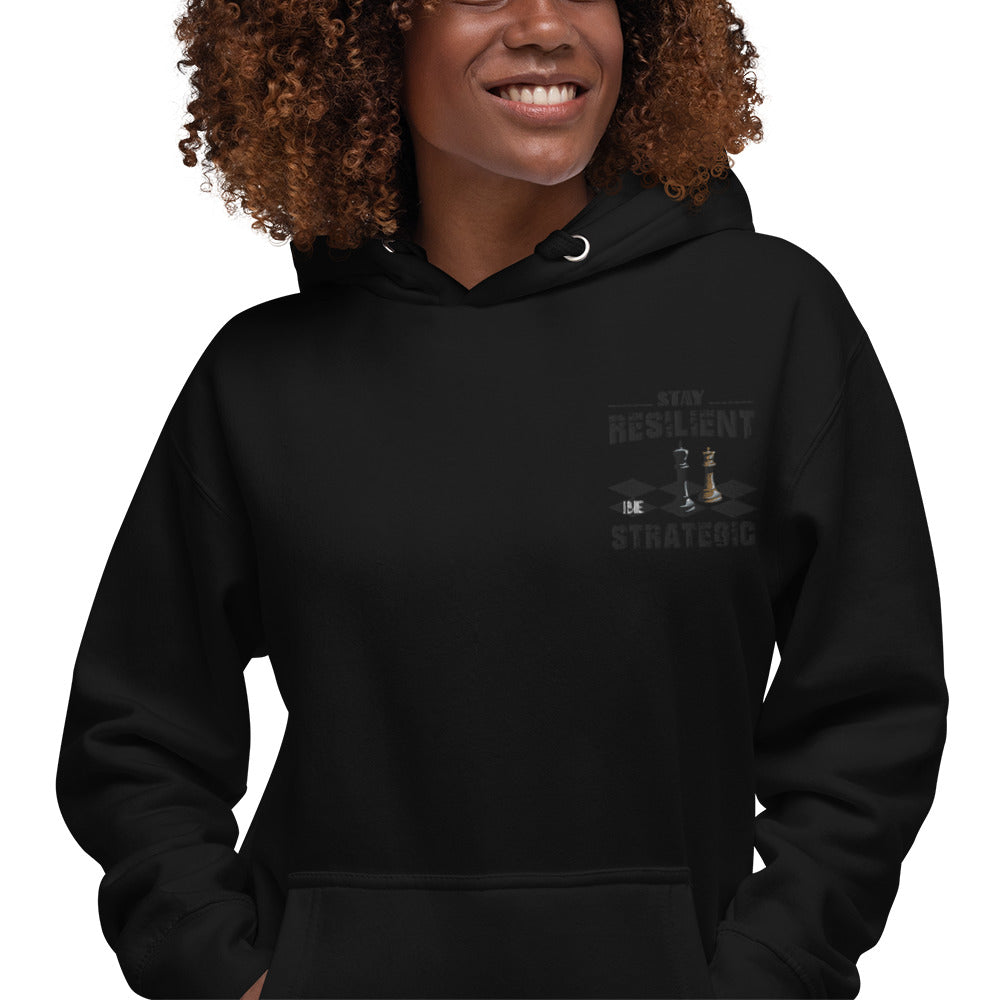 Embroidery Resilient Black Board Unisex Hoodie - Pace-Of-One