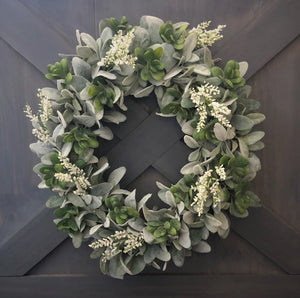 Christmas Wreath, Christmas Decor, Holiday Decor, Holiday Wreath, Winter Wreath, Lambs Ear Wreath, Farmhouse Wreath, Farmhouse Decor