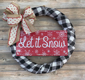 Christmas Decor Wreath, Winter Holiday Wreath, Buffalo Plaid Wreath, Let It Snow Wreath