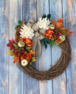 Gold Pumpkin and White Dahlia Wreath