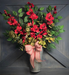 Christmas Decor, Holiday Door Decor, Galvanized Bucket Wreath, Red Gladiolus Wreath