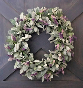 Lavender and Lambs Ear Wreath