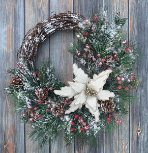 White Christmas Wreath, Farmhouse Christmas Decor, White Velvet Poinsettia Wreath, Holiday Decor, Holiday Wreath, Winter Wreath