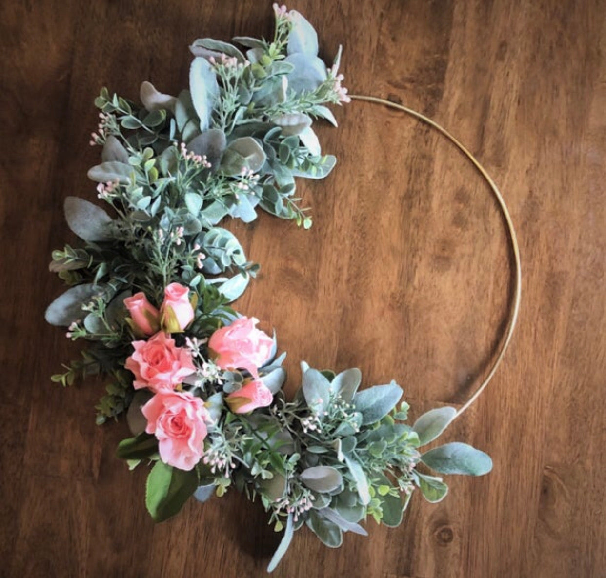 Boho Pale Pink Rose Wreath