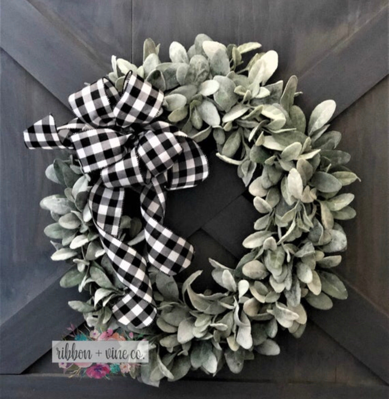 Christmas Decor, Christmas Wreath, Buffalo Plaid Farmhouse Decor, Lambs Ear Wreath, Farmhouse Wreath,  Farmhouse Decor