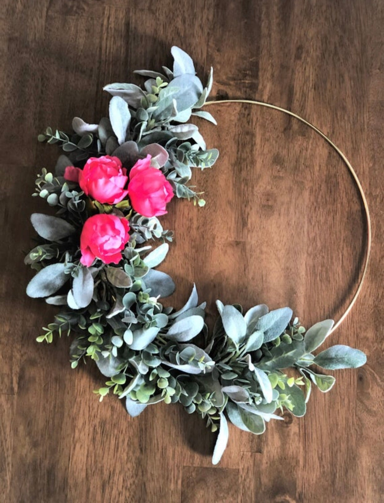 Boho Pink Peony Modern Gold Hoop Wreath, Wedding Wreath