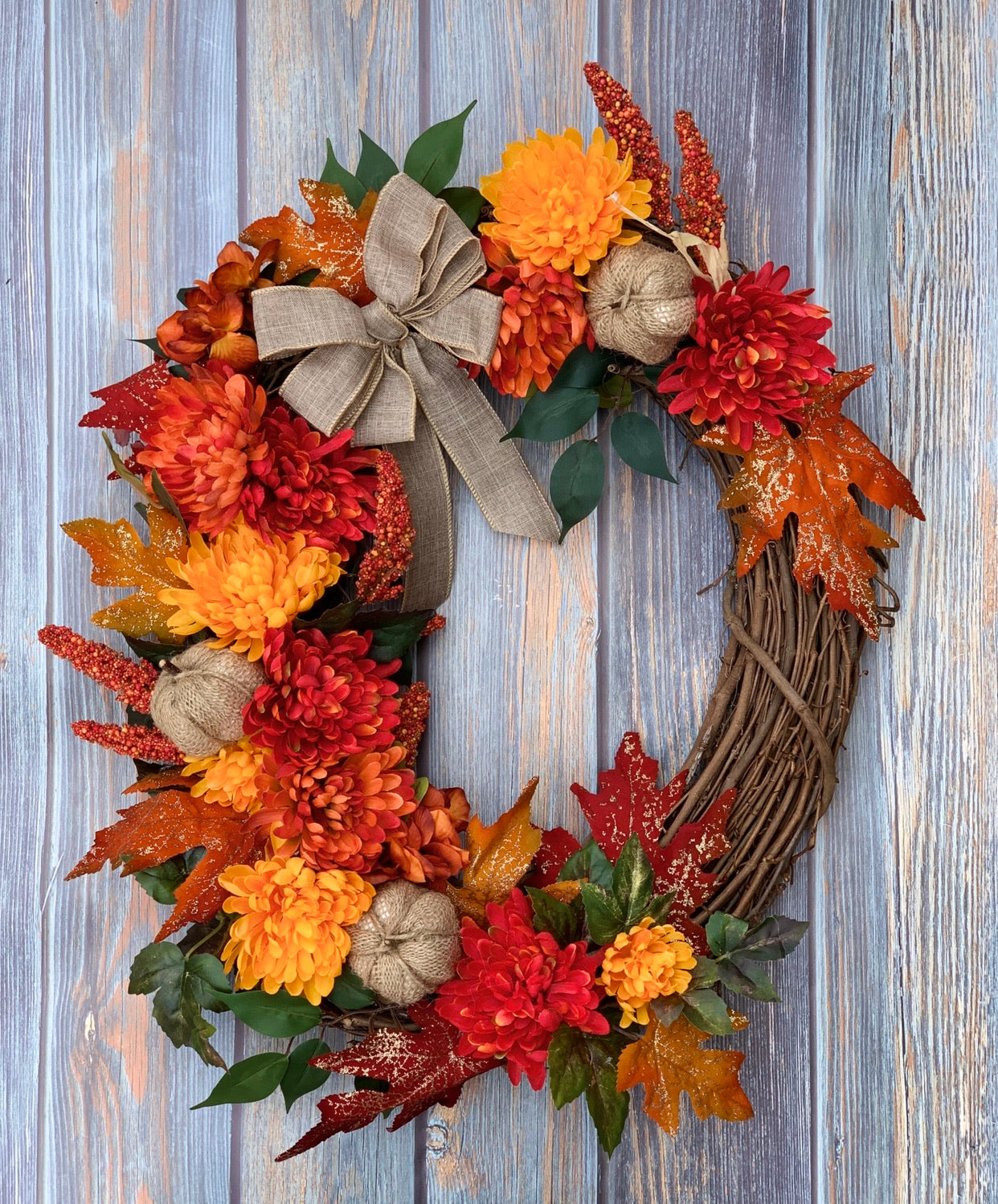 Colorful Fall Mum Wreath