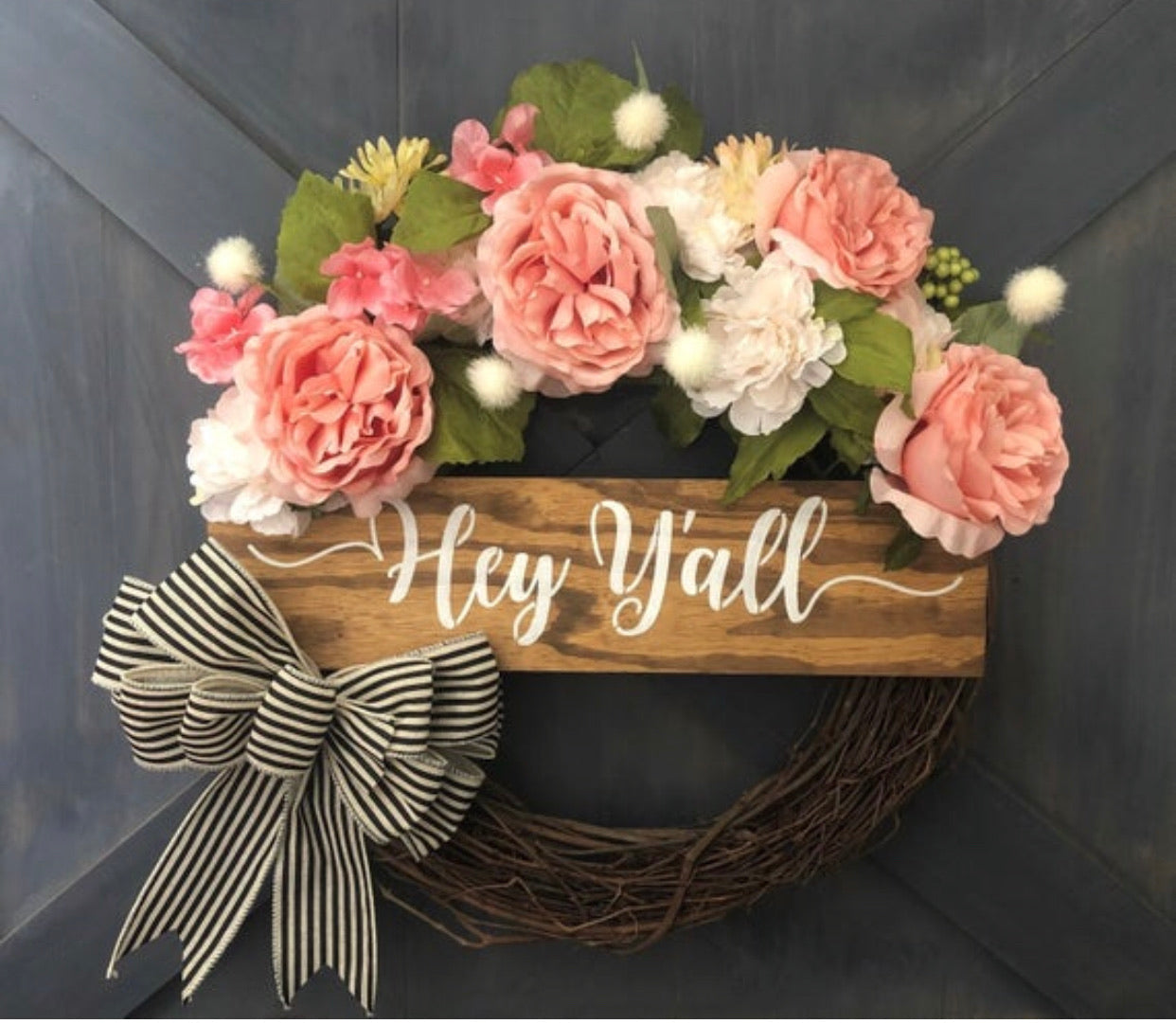 Farmhouse Hey Y'all Wreath