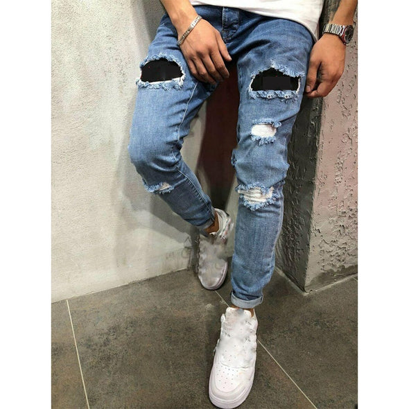 Slim Straight Fit Ripped Men's Jeans