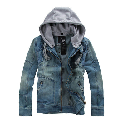 Fitted Denim Men's Jacket with Cotton Hood