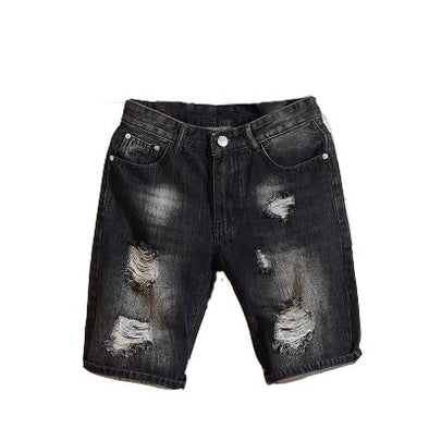 Loose Fit Men's Black Ripped Shorts