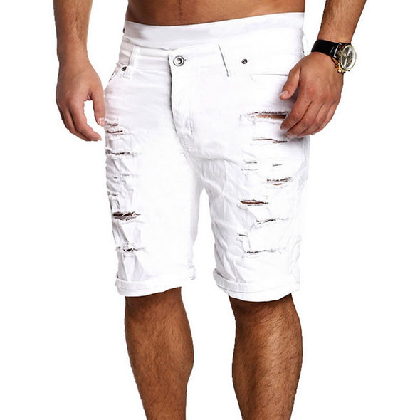Ripped Knee Length Men's Shorts