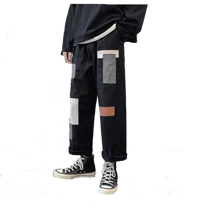 Extra Loose Straight Fit Men's Patchwork Joggers
