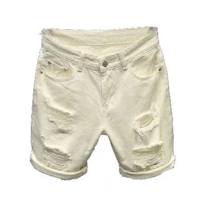 Straight Fit White Ripped Men's Shorts