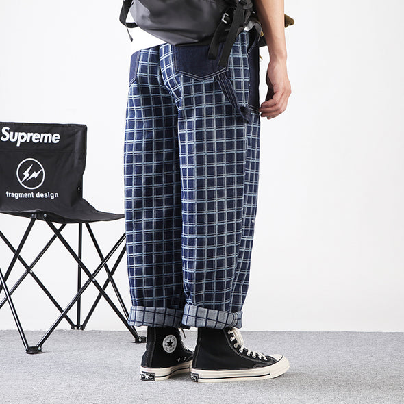 Extra Loose Straight Fit Men's Plaid Pants