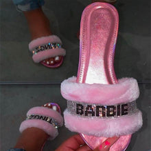 Load image into Gallery viewer, Barbie Tingz fuzzy bling slippers (Pink)