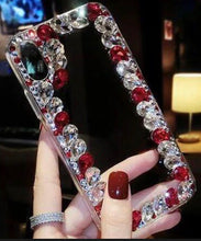 Load image into Gallery viewer, Over the Edge blinged out cellphone case - Red and Clear