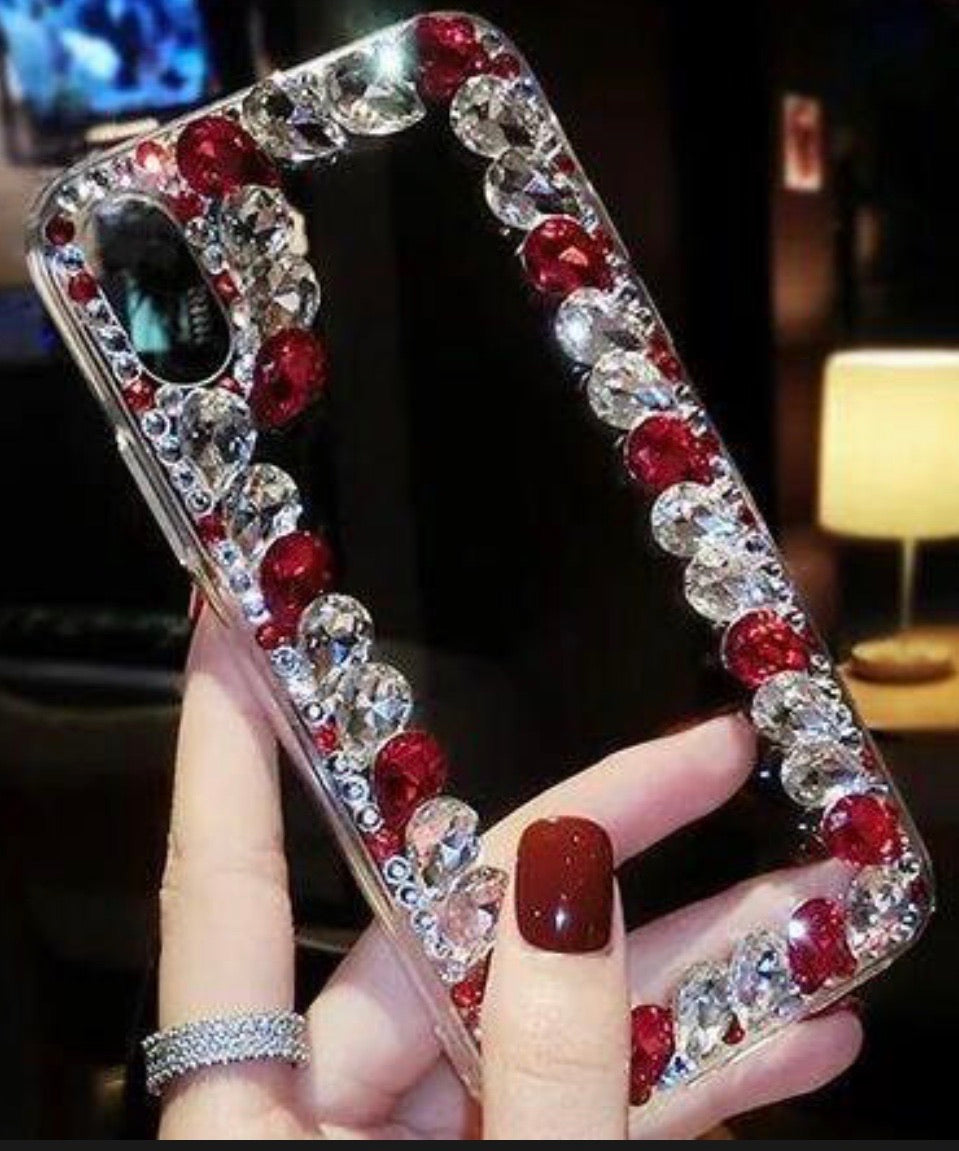 Over the Edge blinged out cellphone case - Red and Clear