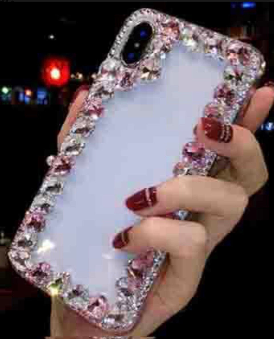 Over the Edge blinged out cellphone case - Pink and Clear