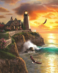 Lighthouse On The Cliff Diamond Painting