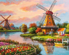 Mill By The River Diamond Painting