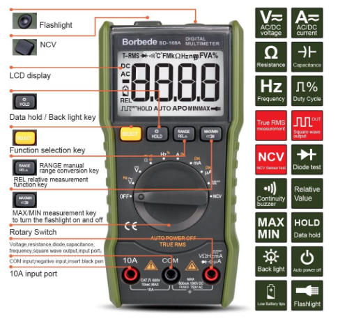MultiMeterX™ AC/DC, Capacitance, Resistance, Digital Multimeter