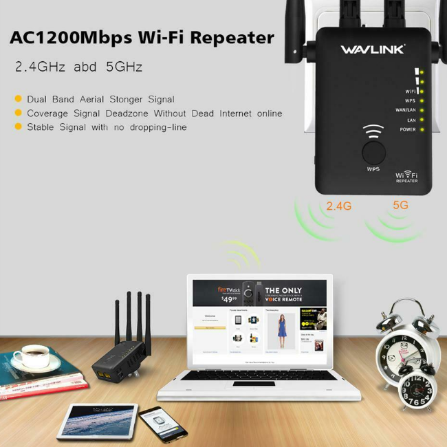WiFiAmp™Wireless Dual Band WiFi Repeater Extender Booster Router