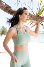 Load image into Gallery viewer, Nursing sports bra green