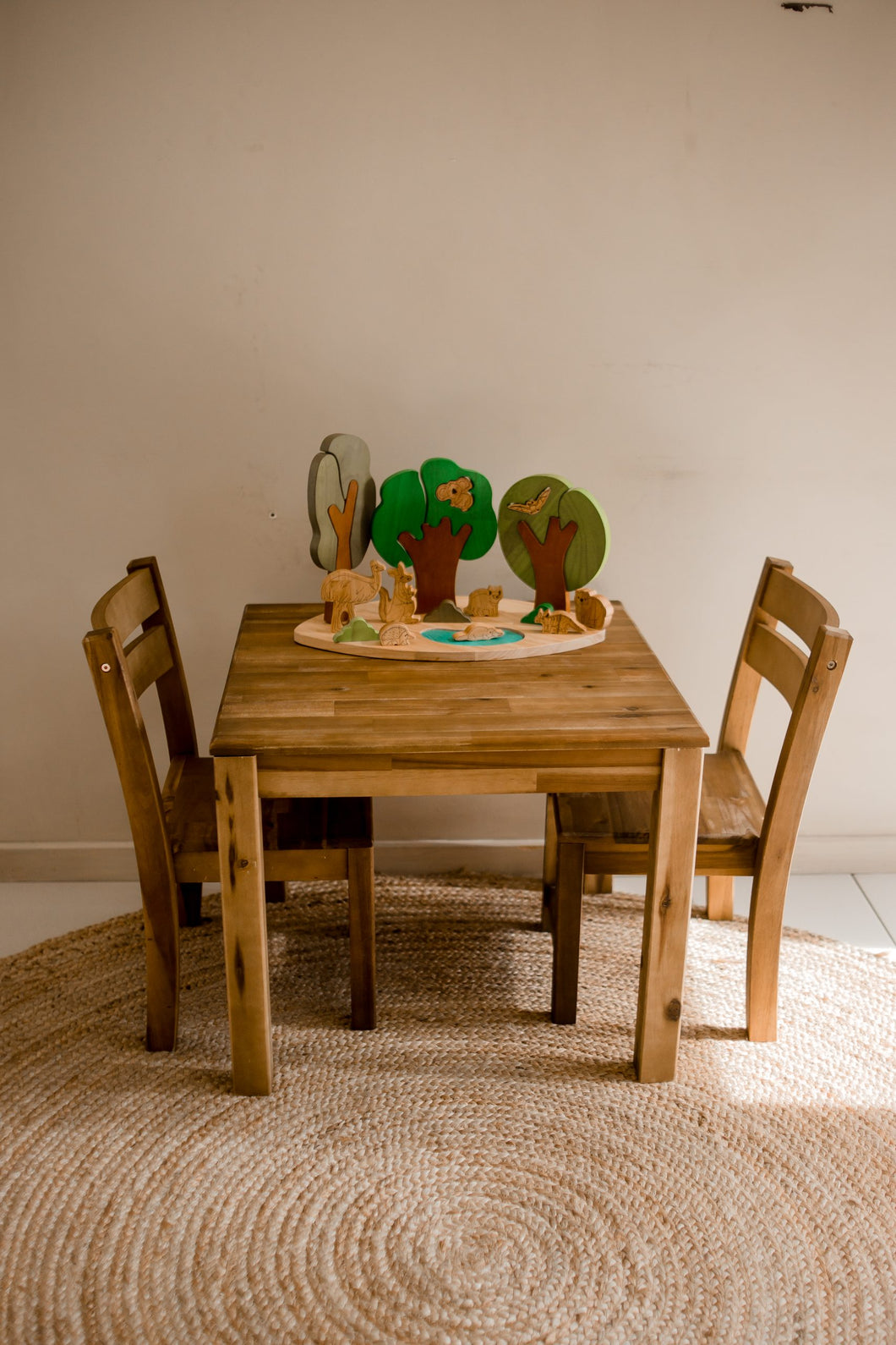 Hardwood Table with 2 Stacking Chairs