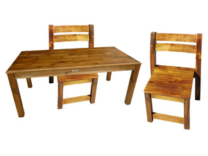 Acacia Rectangular Table & 2 Stacking Chairs
