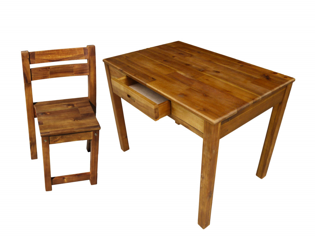 Teen Desk & Stacking Chair - Acacia Timber