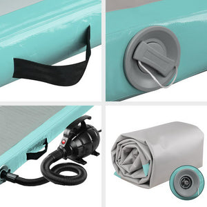 Inflatable Air Track Gymnastics Mat with Pump - Green (5m x 1m)