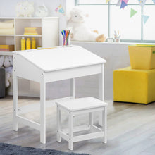 Load image into Gallery viewer, Artiss Kids Lift-Top Desk and Stool - White
