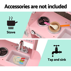 Keezi Kids Kitchen Set Pretend Play Food Sets Childrens Utensils Wooden Toy Pink