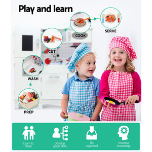 Keezi Kids Kitchen Set Pretend Play Food Sets Childrens Utensils Wooden White