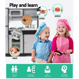 Keezi Kids Kitchen Set Pretend Play Food Sets Childrens Utensils Toys Black