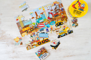 Sassi Book and Giant Puzzle - Construction, 30 pcs