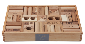 Wooden Story Blocks Natural Peace and Love®, 72 pieces
