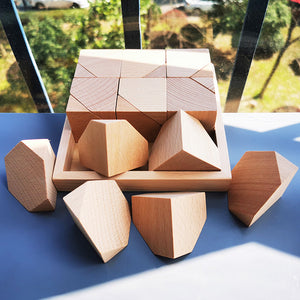 Natural Wooden Flower Bricks 18pcs